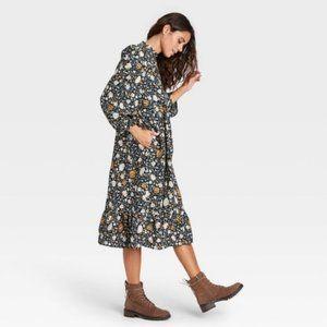 Universal Thread Blue Floral Midi Prairie Dress